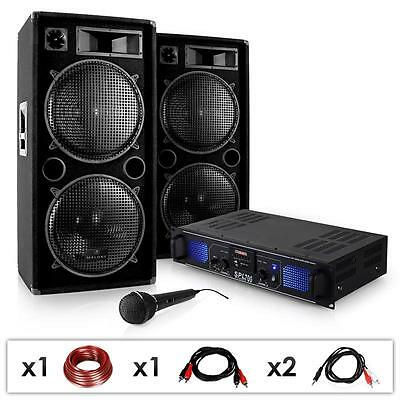 Top Pa Sound System Dj Karaoke Party Beschallung 2 Boxen Mic Amplifier Kabel Set