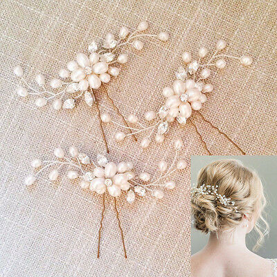 Flower Wedding Hair Pins Bridesmaid Crystal Pearls Bridal Side Comb Clips Grips