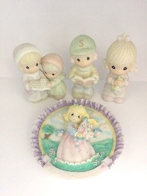 Lot Of 4 Assorted Precious Moments Figurines & Plaque - Excellent Condition