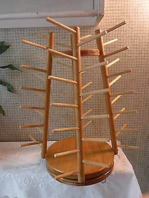 VINTAGE Wooden Lazy Susan Sewing Thread Holder Holds 52 Spools!
