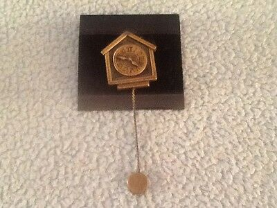"JJ Pewter PIn Antique Cuckoo Wall Clock Gold Chain Tick Tock Brooch 3"" Long"