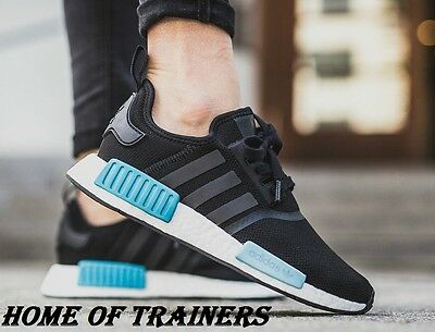 Adidas NMD R1 Runner Boost Core Black Mint Icy Blue Women's BY9951 (PTI)