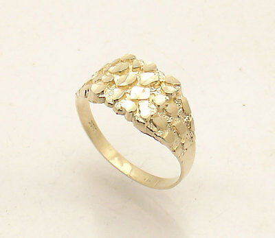 Size 11 Men's Nugget Style Ring Real Solid 10K Yellow Gold 2.2gr