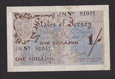 Jersey 1942 1 Shilling Banknote, Ww2 In Excellent Condition