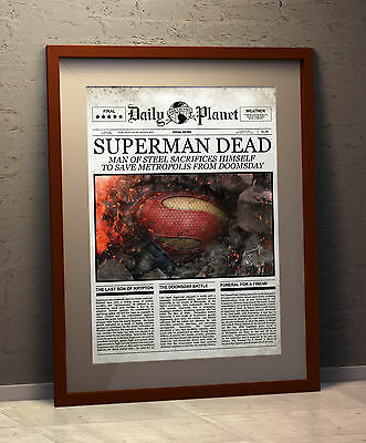 Superman Dead - Faux Daily Planet Cover -  Newspaper Parody - A3 Size