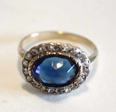 RARE Blue French Paste Georgian  Rose Cut Diamond Ring Size 7.5