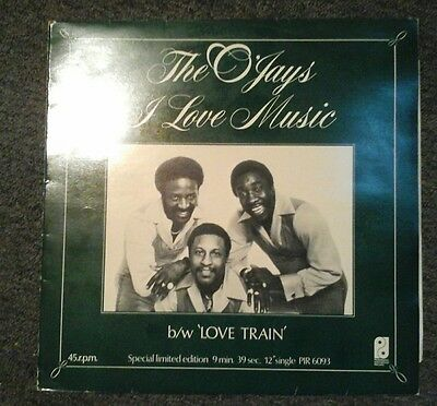 "The Ojays I Love Music /  Love Train 45 Rpm 12"" Single Picture Sleeve Disco Soul"