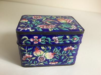Antique Chinese Canton Enamel Floral Decorated Box