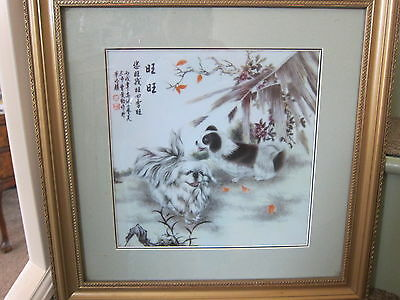 BOXED GOLD FRAMED CHINESE REPUBLIC PORCELAIN PLAQUE OF CHINESE DOGS 40cmsx40cms