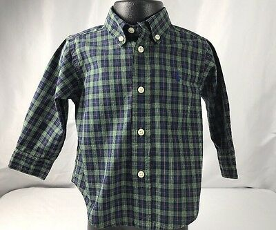 Baby Boy Ralph Lauren 12 Mos Long Sleeve Button Down Shirt Green Blue Plaid