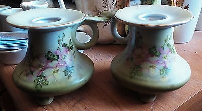 Pr.Nippon Hand Painted Candle Stick Holders c. 1911