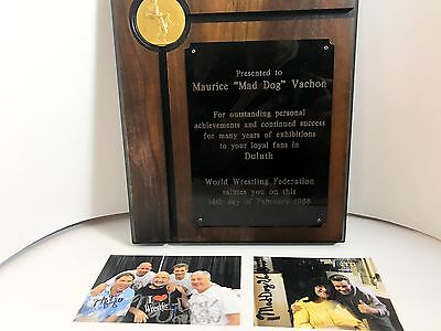 """RARE! Maurice """"Mad Dog"""" Vachon WWF Autographed Signed Plaque Award COA DECEASED"""