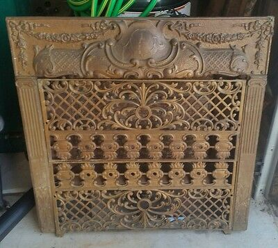Ornate Victorian Cast Iron Metal Fireplace Gas Insert Architectual L@@K!