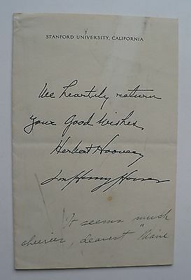 Autographed Hand-Written Letter By Wife Of President Herbert Hoover, Stanford