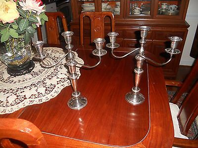 A Pair of three Light  Sterling Silver Candelabra's, excellent condition.