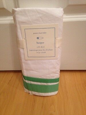 New Pottery Barn Kids Bright Green White Grosgrain Ribbon Tailored Crib Skirt