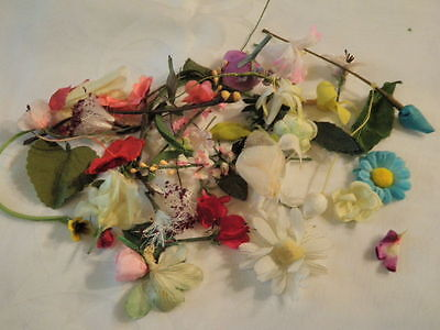 """Vtg Millinery Flower Head Collection Shabby 1/2 -2"""" Pink Red Yellow Blue H1513"""