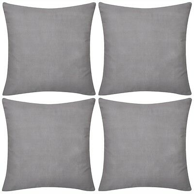 4 Cushion Cover Pillow Case Soft Cotton Fabric Grey Square Home Sofa Bed Decor