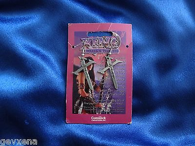 """RARE Xena OFFICIAL Comstock Creations Xena """"X"""" Earrings - BRAND NEW ON CARD"""