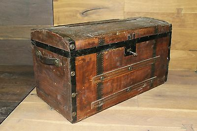 Antique Relic Wooden Treasure Chest Childrens Dome Trunk Working Skeleton Key