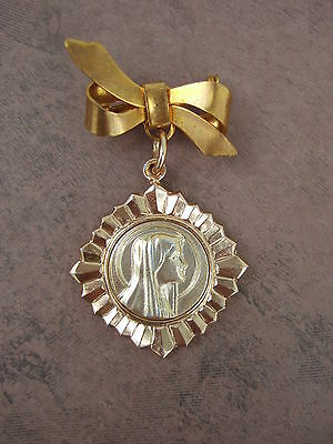 Vintage Catholic Pin Brooch gold finish Blessed Virgin Mary medal
