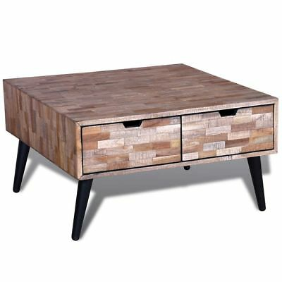 Coffee Table with 4 Drawers Reclaimed Teak Handmade Living Room Furniture