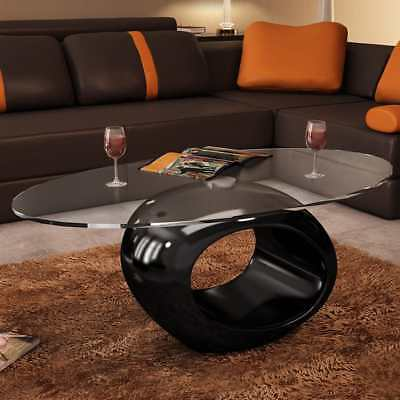 New Modern High Gloss Glass Top Coffee Table Black Round Side Dinner Office Home