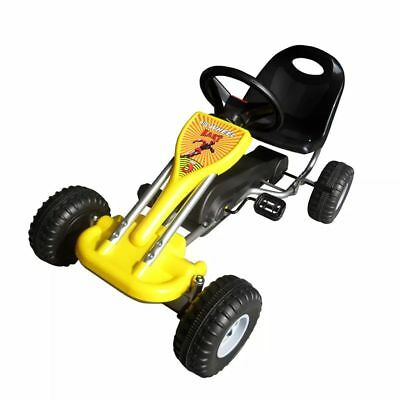 YELLOW PEDAL GO-KART RIDE-ON CAR KIDS Yellow Black Hand brake children3-5