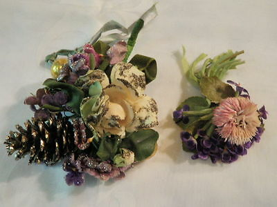 Vintage Millinery Flower Collection Shabby Velvet Violets Purple Corsage H1526