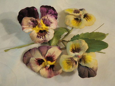 "Vtg Millinery Flower Collection 3"" Velvet Pansy Viola Purple Yellow Shabby H1543"