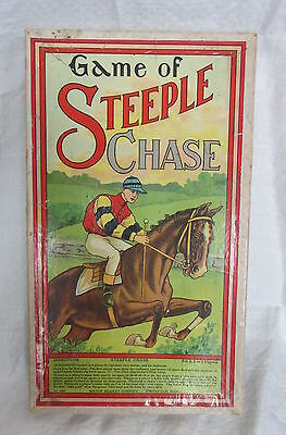 Antique Milton Bradley Board Game of Steeple Chase Jockey Racing Horse Jumping