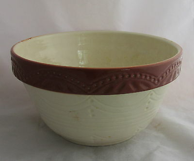 Antique RRP Roseville Pottery Stoneware Gingerbread Rust Mixing Bowl 410-8