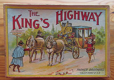 Antique Parker Bros The King's Highway Board Game Dressed Cats Stagecoach Thief