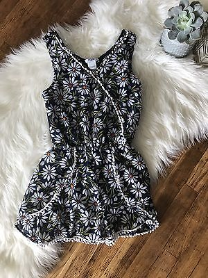 GUESS Kids Girl's Floral Print Romper Size 10 In Navy With White Floral