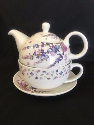 Butterfly 3 piece TEA FOR ONE teapot and teacup set