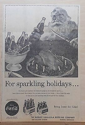 1956 newspaper ad for Coke - Santa and coke, turkey, For Sparkling Holidays