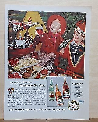 1956 magazine ad for Canada Dry Sodas - Heap Big Cookout, cowboy & indian kids