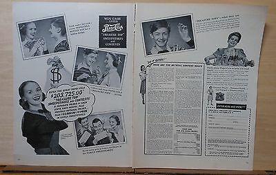 1948 two page  magazine ad for Pepsi-Cola - Treasure Top Sweepstakes contest