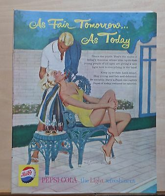 1959 magazine ad for Pepsi-Cola - As Fair Today, Blonde couple at poolside
