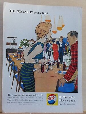 1959  magazine ad for Pepsi - The Sociables surround themselves with friends