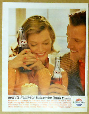 Vintage full color 1963 magazine ad for Pepsi Cola - For those who Think Young