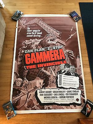 "1966 GAMMERA GAMERA THE INVINCIBLE HORROR 40 x 60"" Orig Movie Poster GODZILLA"