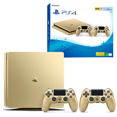 PS4 Slim 500GB Gold Console with Extra Controller NEW