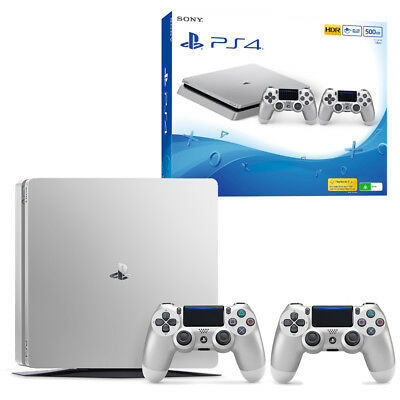 PS4 Slim 500GB Silver Console with Extra Controller NEW