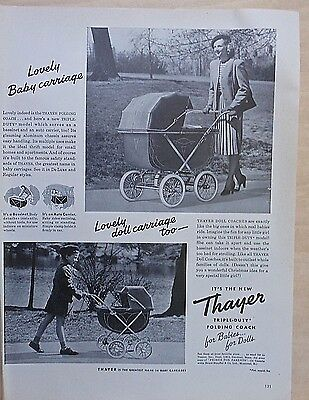 1947 magazine ad for Thayer Baby & Doll Carriages - Triple duty folding models