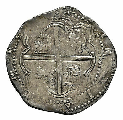 Amazing  pirate cob & spanish colonial * Silver 8 Reales * Philip II * Potosi A