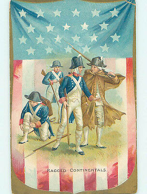 Pre-Linen patriotic LARGE USA FLAG & GEORGE WASHINGTON WITH CONTINENTALS HJ2959