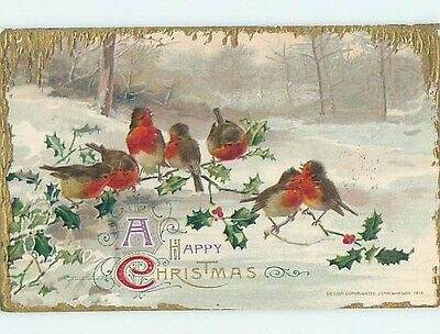 Pre-Linen christmas LARGE GROUP OF SEVEN BIRDS SITTING ON HOLLY BRANCHES HL0404