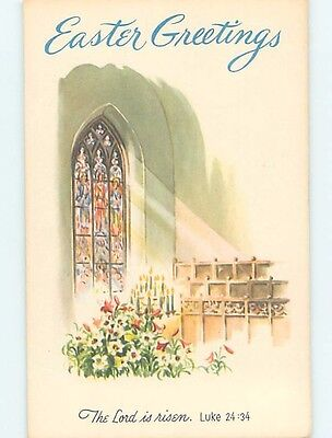 Pre-1907 easter religious LUKE BIBLE QUOTE & STAINED-GLASS CHURCH WINDOW HL0871