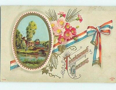 Pre-Linen thanksgiving patriotic USA FLAG RIBBON WITH FLOWERS AND RIVER HL1720